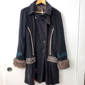 Desigual Black Coat with Fur Cuffs